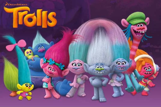Trolls Movie Poster Image of group of Trolls