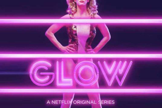 Image of Netflix GLOW Poster of Wrestler and Ropes