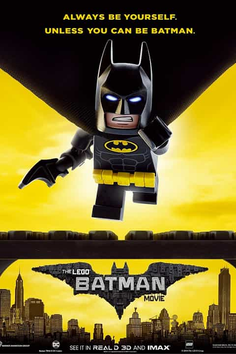 The Lego Batman Movie Poster Batman Flying on yellow graphical poster