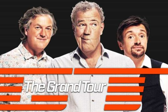 The Grand Tour hosts. Jeremy Clarkson, Richard Hammond, James May.